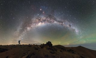The Milky Way galaxy shines over the Chilean Chajnantor plateau in this photo by European Southern Observatory astrophotographer Petr Horálek.