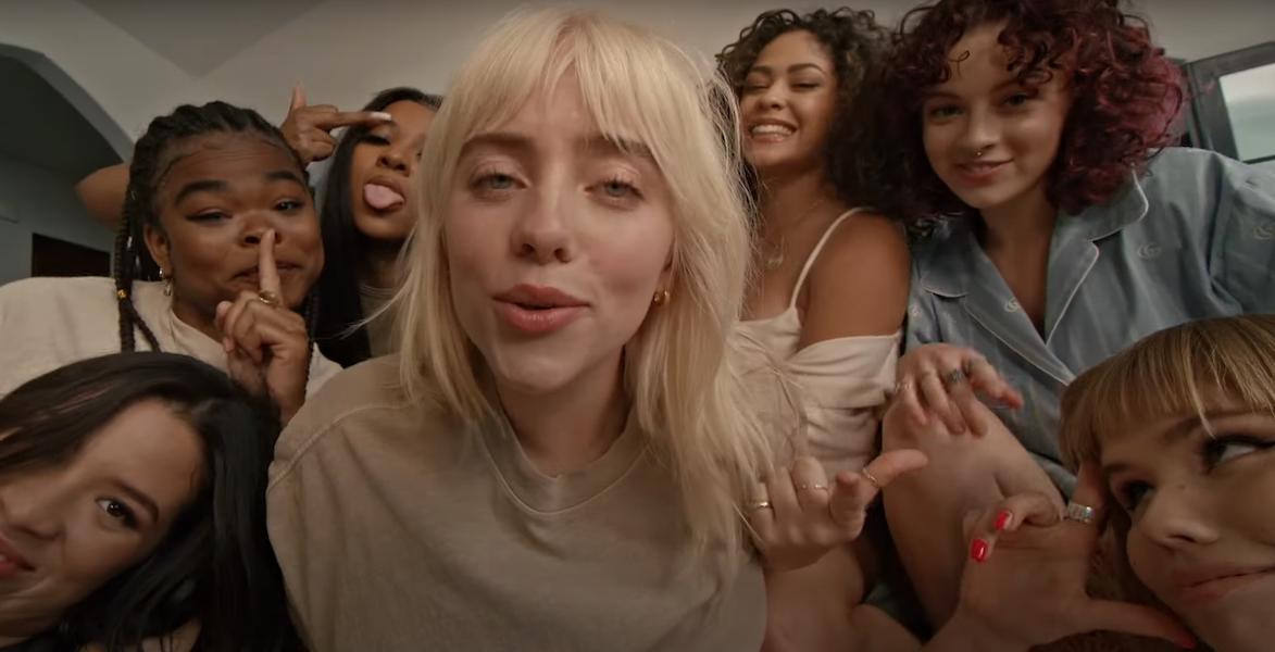 Billie Eilish in sleepwear with the girls in Lost Cause music video