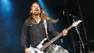 Sabaton's Pär Sundström playing bass onstage