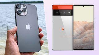 iphone 13 pro max vs pixel 6 pro composite image