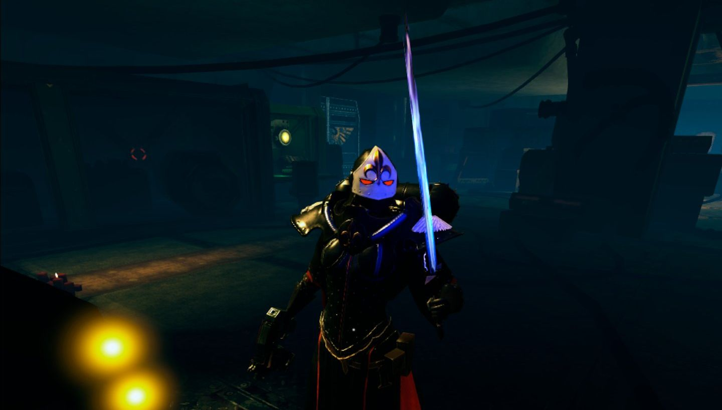 A Sister of Battle holds a power sword