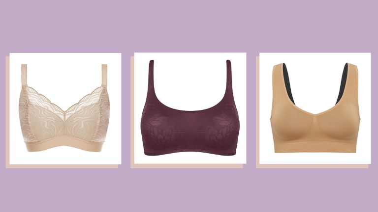 three of w&h's best comfortable bras—Fantasie Impression bralette, Triumph Fit Smart bra and SPANX Breast of Both Worlds bra—on a lilac background