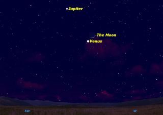 Jupiter, Venus & Moon Sky Map February 25, 2012