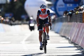 SESTRIERE ITALY OCTOBER 24 Arrival Vincenzo Nibali of Italy and Team Trek Segafredo during the 103rd Giro dItalia 2020 Stage 20 a 190km stage from Alba to Sestriere 2035m girodiitalia Giro on October 24 2020 in Sestriere Italy Photo by Stuart FranklinGetty Images
