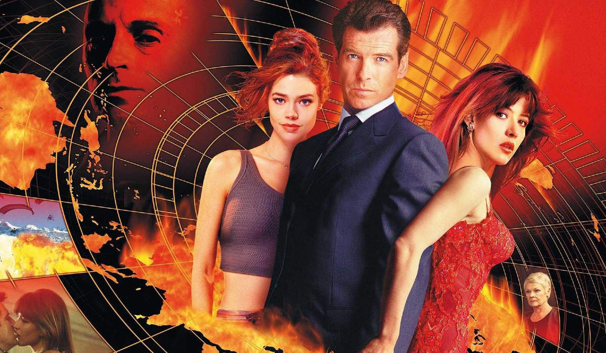 The World Is Not Enough Pierce Brosnan stands between Denise Richards and Sophie Marceau, as Robert