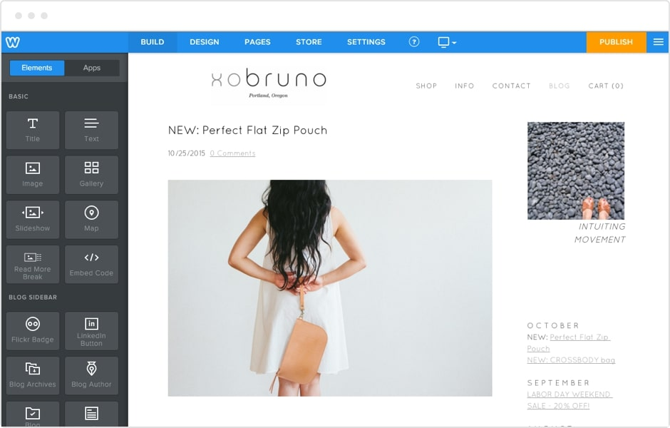Weebly's website editor in use