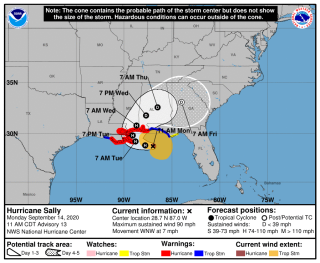A map shows the range of possible paths for the center of Hurricane Sally, though the National Hurricane center said it's still uncertain what direction the storm will go.