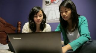YouTube Space Lab winners Sara Ma and Dorothy Chen