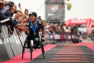 CERVIA ITALY SEPTEMBER 20 Alex Zanardi of Italy heads for the finish line on IRONMAN 703 Emilia Romagna on September 22 2019 in Cervia Italy Photo by Bryn LennonGetty Images for IRONMAN