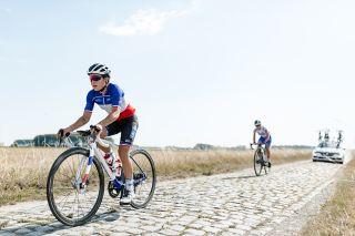 The FDJ Nouvelle-Aquitaine Futuroscope team check out the Paris-Roubaix Femmes route