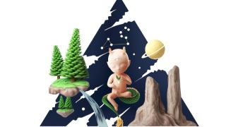 Illustration of baby floating in a Zen state