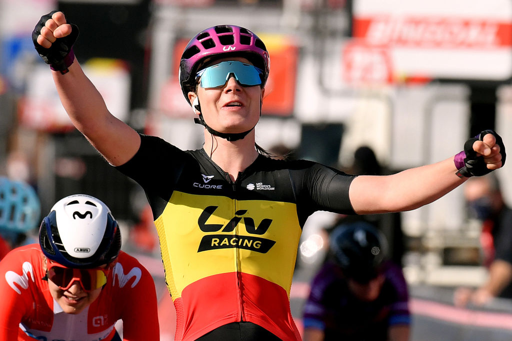 DOUR BELGIUM MARCH 02 Sprint Arrival Lotte Kopecky of Belgium and Team Liv Racing Celebration during the 10th Le Samyn des Dames 2021 Womens Elite a 925km race from Quaregnon to Dour GPSamyn on March 02 2021 in Dour Belgium Photo by Mark Van HeckeGetty Images