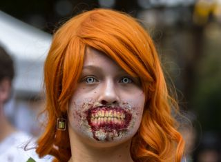 A girl dressed up as a zombie for the Zombie Walk Sydney in Australia on Oct. 29, 2016.