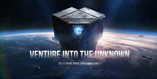 """An image of a stargate in the Lagrange System. It hovers above a planet that resembles Earth, and has a blue triangle in the middle that glows. Text over this reads """"Venture into the Unknown. Sci-fi grand space simulation game."""""""