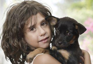 A little girl holds a puppy.