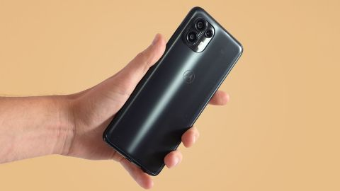 A Motorola Edge 20 Lite from the back in someone's hand
