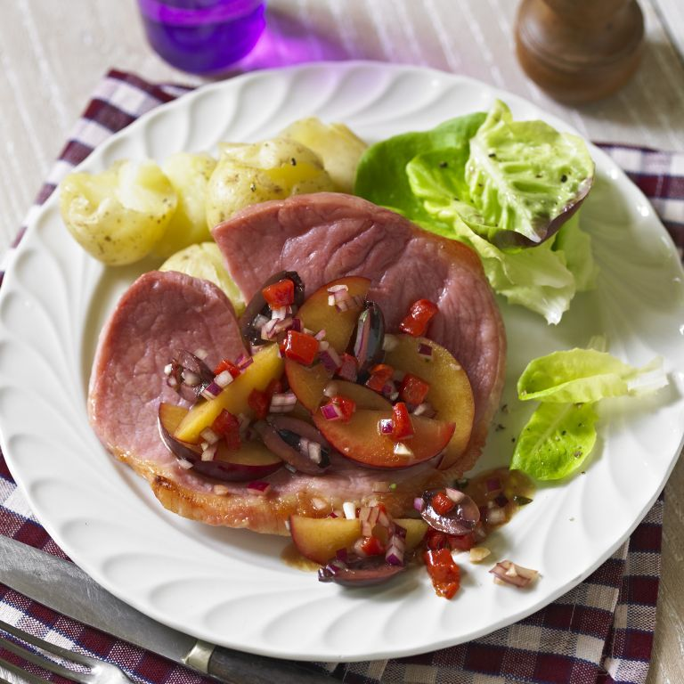 photo of Grilled Salmon with Plum, Black Olive & Red Onion Salsa Recipe