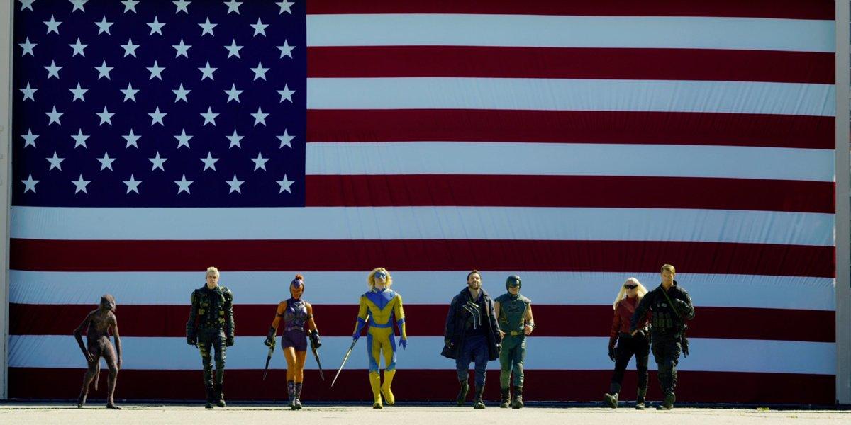 The Suicide Squad flag lineup Weasel Blackguard Mongal Javelin Captain Boomerang T.D.K. Savant Rick Flag