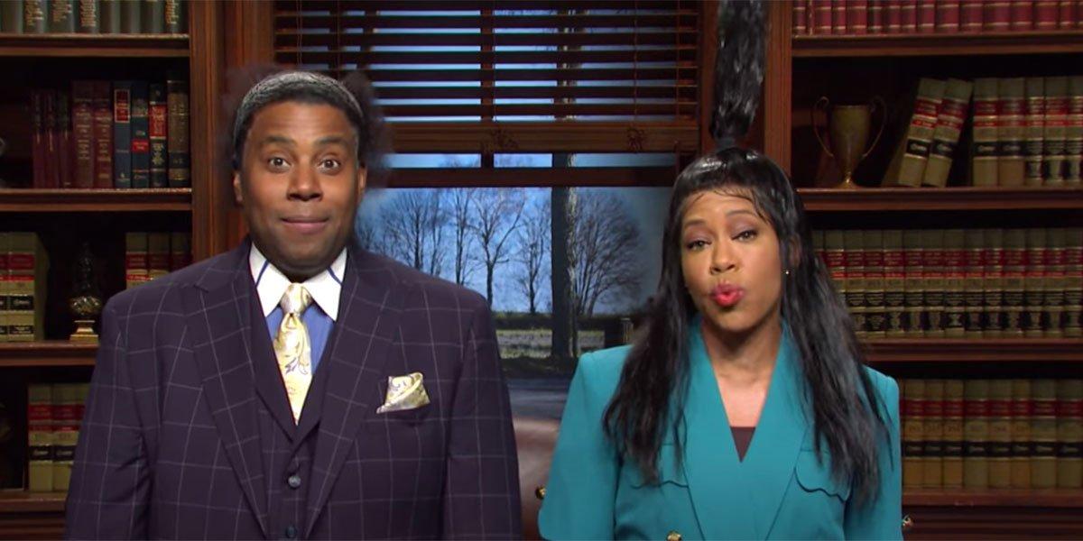 Kenan Thompson and Regina King playing lawyers on Saturday Night Live.