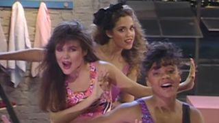"""Lisa Turtle, Kelly Hapowski and Jessie Spano performing as Hot Sundae in the """"Go for It!"""" music video on Saved by the Bell"""