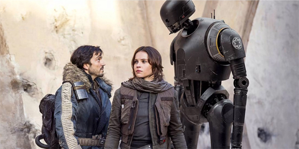 Cassian Andor Jyn Erso K-2SO talk to gether in a group