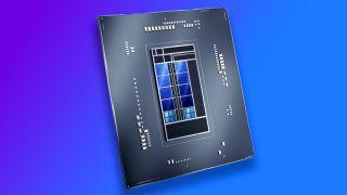 Intel Alder Lake chip render over gradient background
