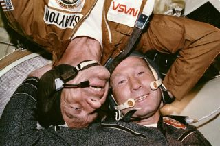 Slayton and Leonov in Soyuz