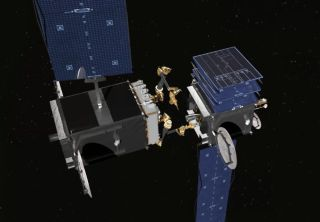 """Artist's illustration of one satellite inspecting another. On Aug. 14, 2018, a US diplomat said that a Russian satellite described as a """"space apparatus inspector"""" has been behaving very oddly on orbit, raising the possibility that it may be a space weapo"""