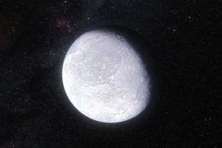 This artist's impression shows the distant dwarf planet Eris. New observations have shown that Eris is smaller than previously thought and almost exactly the same size as Pluto. Eris is extremely reflective and its surface is probably covered in frost for