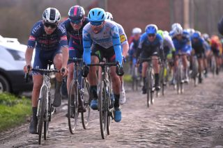 DOUR BELGIUM MARCH 03 Gianni Vermeersch of Belgium and Team AlpecinFenix Tom Van Asbroeck of Belgium and Team Israel StartUp Nation Cobblestones during the 52nd Grand Prix Le Samyn 2020 a 2019km race from Quaregnon to Dour GPSamyn gpsamyn on March 03 2020 in Dour Belgium Photo by Luc ClaessenGetty Images