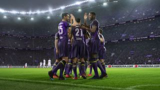 The Football Manager 2021 key art, featuring footballers doing high-fives.