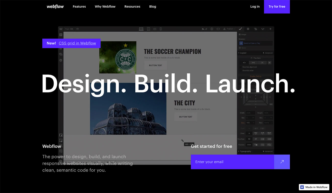 Choose a website builder: Webflow