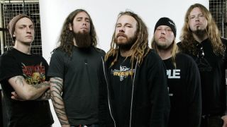 In Flames in a photo studio (Anders in the centre)