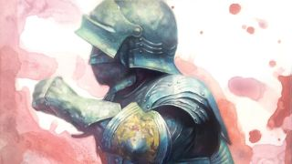 Painting of a knight wearing a suit of armour, holding a sword in a fight