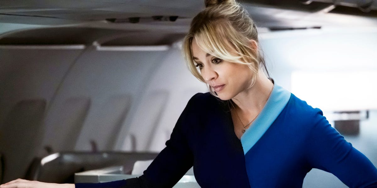 Kaley Cuoco as Cassie Bowden on The Flight Attendant (2020)