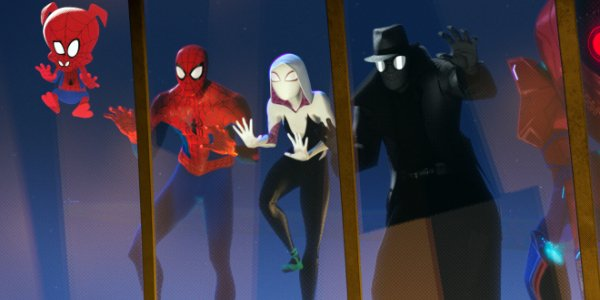 Spider-Man: Into The Spider-Verse the Spider People looking in on an event through a window