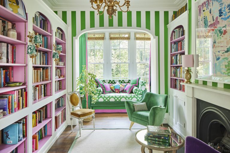 living room with bold striped wallpaper