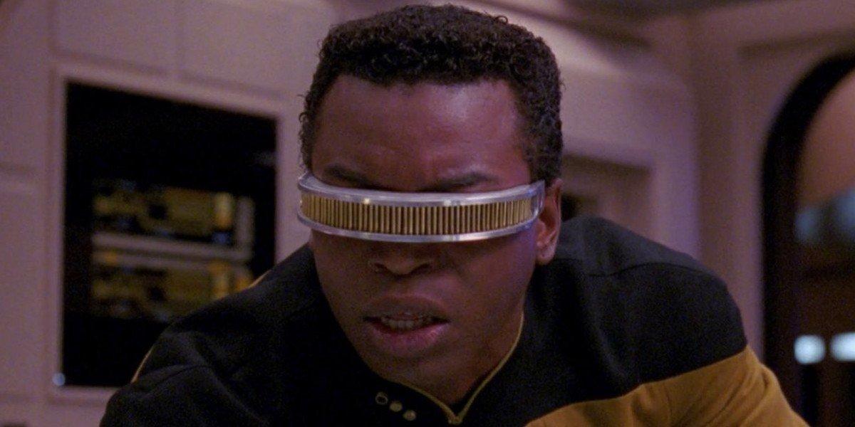 Geordi La Forge looking shocked on Star Trek: The Next Generation