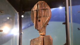 The Shigir Idol, which is considered the world's oldest wooden sculpture, is on display at the Sverdlovsk Regional Museum of Local Lore in Russia.
