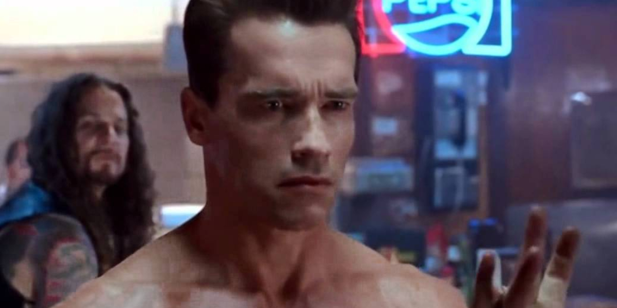 Arnold Schwarzenegger as the nude T-800 in Terminator 2: Judgment Day