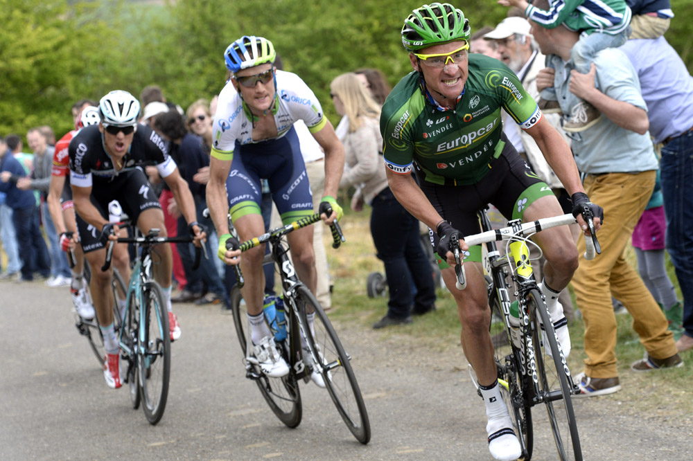 Thomas Voeckler escapes in the 2014 Amstel Gold Race