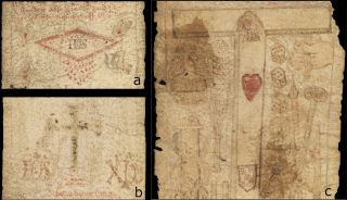 The medieval birthing scroll has illustrations from Christian imagery to protect a woman from the dangers of childbirth, including the wound on the side of the crucified Christ, dripping blood (upper left); a rubbed-away crucifix and holy monograms (lower left); and a tau (headless) cross adorned with a sacred heart and shield, alongside a standing figure that may be Jesus.