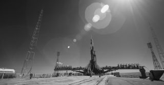 A Soyuz rocket that will launch three people to the International Space Station on the 50th anniversary of the Apollo 11 moon landing tomorrow (July 20) stands tall on the launchpad at the Baikonur Cosmodrome in Kazakhstan.