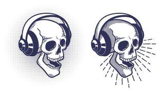 Prime Day headphones: Skull wearing headphones