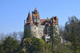 a view of Bran Castle, or Dracula's Castle, in Transylvania.