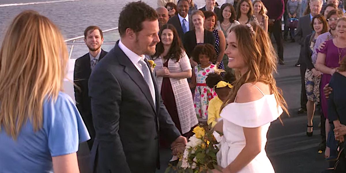 Grey's Anatomy Meredith officiates ferry wedding between Alex Karev and Jo Wilson