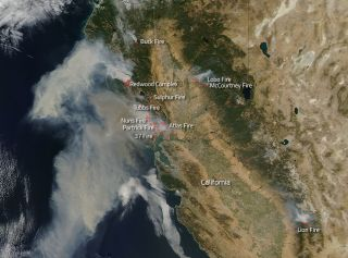 Satellite View of California Wildfires