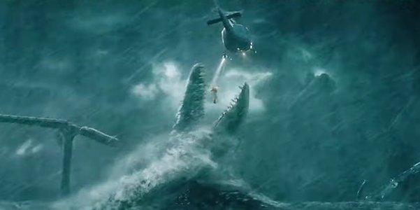 Mosasaurus eating human in Jurassic World: Fallen Kingdom