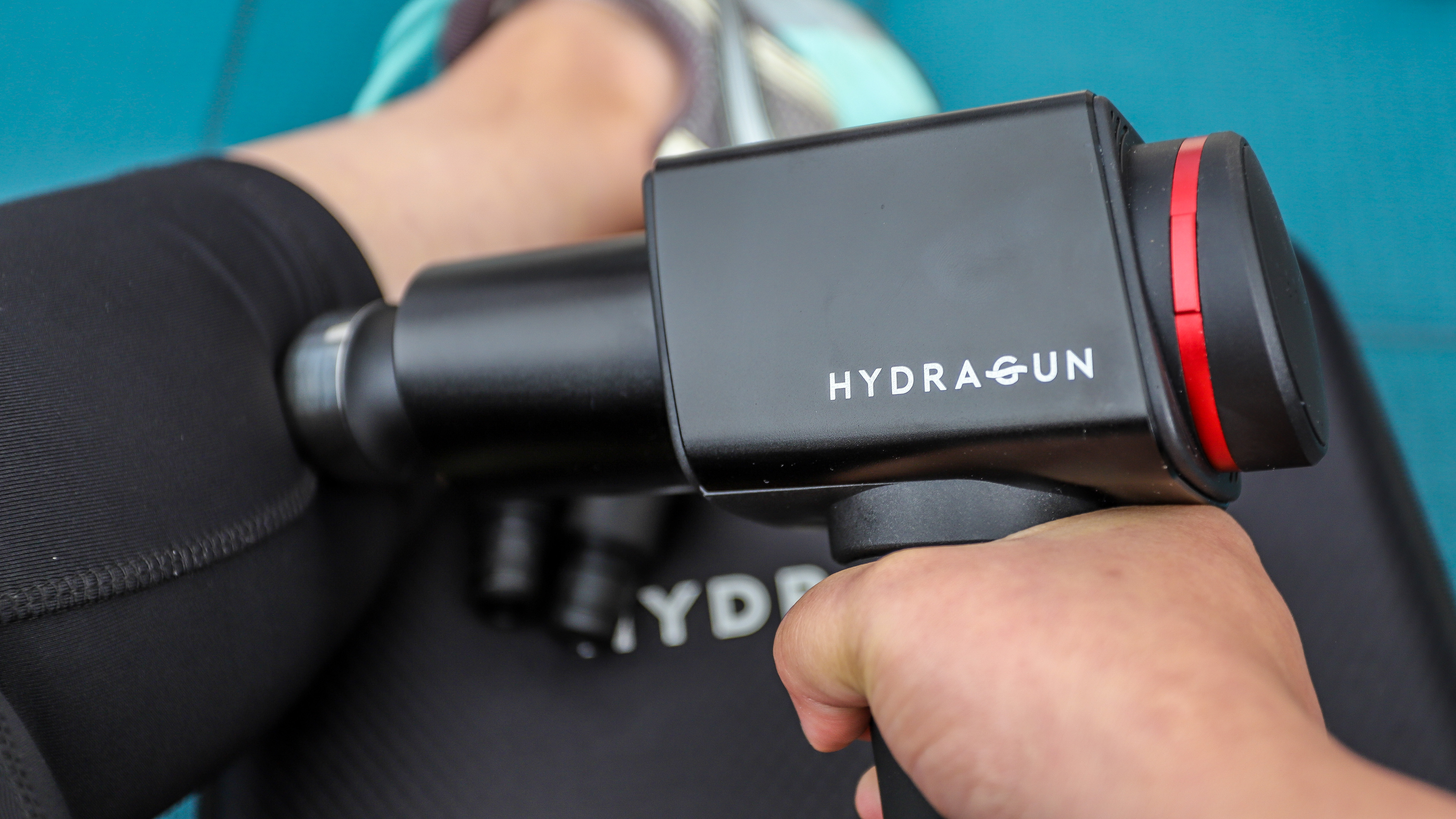 Hydragun in use on calf muscle