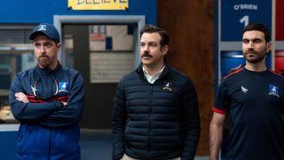 Brendan Hunt, Jason Sudeikis and Brett Goldstein star in Ted Lasso season 2 finale